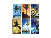 3116D13 Palm Tree Design Plastic Cigarette Case King Size, Push Open (12PC)