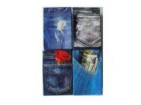 3116JEANS Denim Jeans Design Plastic Cigarette Case King Size, Push Open (12PC)