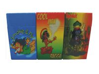 3117R1 Rasta Design Holds 100 Size Cigarettes Push To Open (12PC)