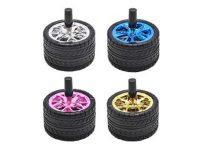 ASHSTIRE2 Black Rubber Tire Ashtray W/ Colorful Metallic Rim (12PC)