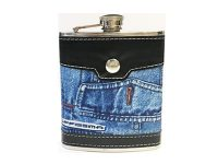 FL301 Black & Brown Leather Wrapped Jean Design Flask Holds Up To 6 oz (8PC)