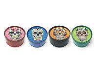 GR3CSKGN. Glow Candy Skull Designs 3-Part Metal Tobacco Herb Grinder (12PC)