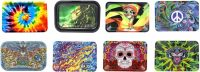 ROLLTRAYLG Large Metal Rolling Tray 8 Mixed Designs (12PC)