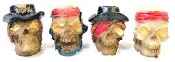 BUTT32. Glow In The Dark Pirate Skull Design Resin Snuffer (24PC)