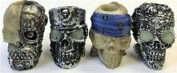 BUTT44. Silver Skull Design Resin Snuffer (24PC)