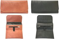 3318 Tri-Fold Leatherette Tobacco Pouch W/ Magnetic Closure Lined Zipper Pocket (12PC)