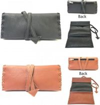 3320 Tie Around Tri-Fold Leatherette Tobacco Pouch W/ Stitched Arrow Design; Zipper Pocket (10PC)